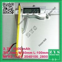 3.7V 2800mAh battery 3540100 Lithium Polymer Rechargeable Battery Li Po li ion For Mp3 DVD Camera GPS PSP bluetooth electronics