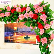 FENGRISE Hydrangea Fake Flower Leaf Artificial Ivy Flowers Garland Wedding Decoration Silk Bouquet Valentines Day Gift