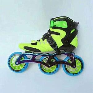Image 3 - פחמן סיבי Inline מהירות גלגיליות נעליים לילדים ילדים סיב מרוצי מסלול תחרות 3X90mm 3X100mm 110MM 4X90mm 3 4 גלגלים