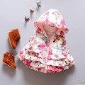 2 cores rosa e azul marinho plissado floral Design As Meninas Do Bebê Macio l Inverno manter quente Casaco Com Capuz