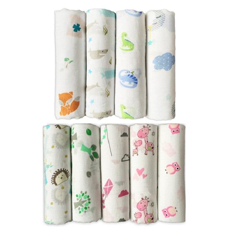 цена на Giol Me Num Quality Baby Swaddle 70% Bamboo fibre 30% cotton carbasus newborn lovely blanket bath towel bed sheet wrap 120X120cm
