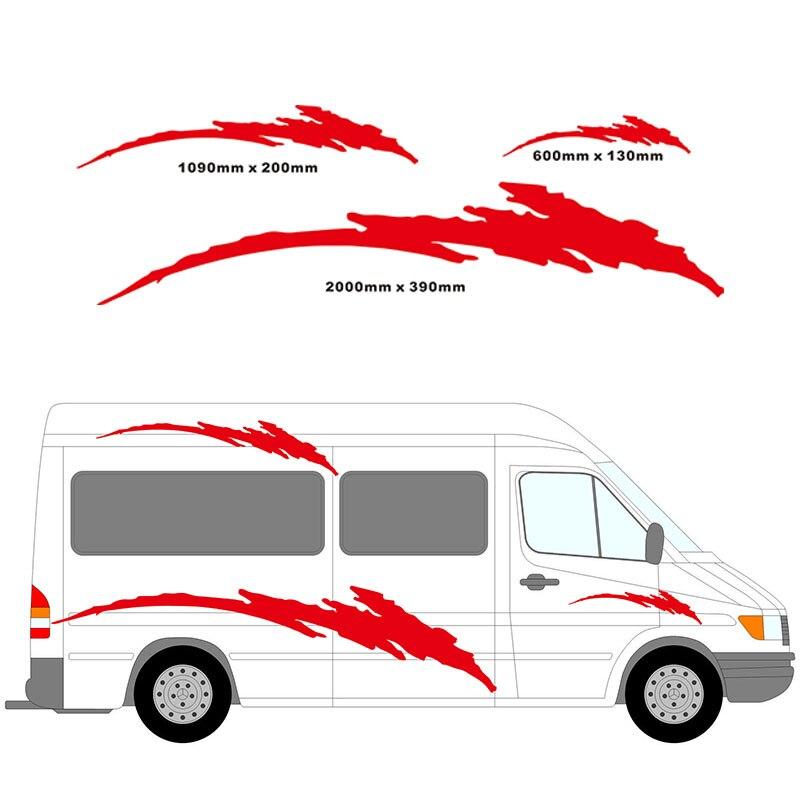 200 CM * 39 CM 2 m camping-Car vinyle rayures Kit graphique voiture autocollants ensemble camping-Car RV caravane voyage remorque boîte à cheval