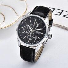 b615fcbb2442 BOSS 2019 hommes montre en cuir automatique Date montres à Quartz marque de  luxe étanche Sport