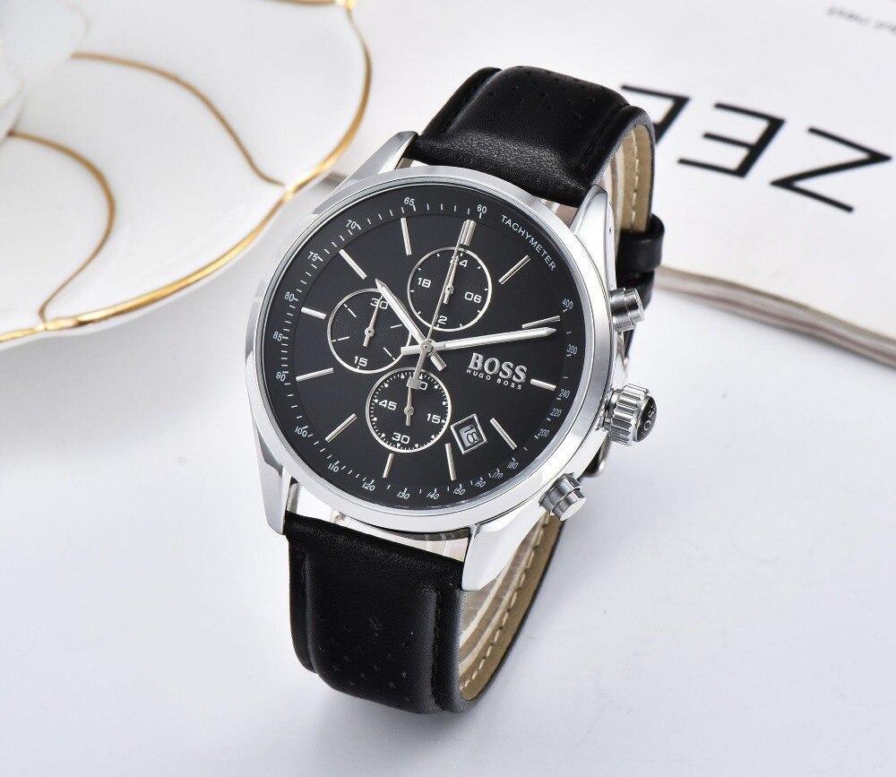 BOSS 2019 hommes montre en cuir automatique Date montres à Quartz marque de luxe étanche Sport montres à Quartz Relogio Masculino