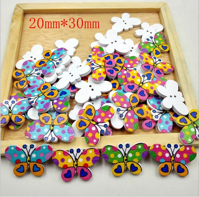 DIY Mixed pattern Cloth Wooden butterfly buttons Fit Sewing scrapbooking 27mm