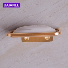 Space aluminum Wall Mounted Soap Dish Holder Box Basket Rectangle Bathroom Accessories