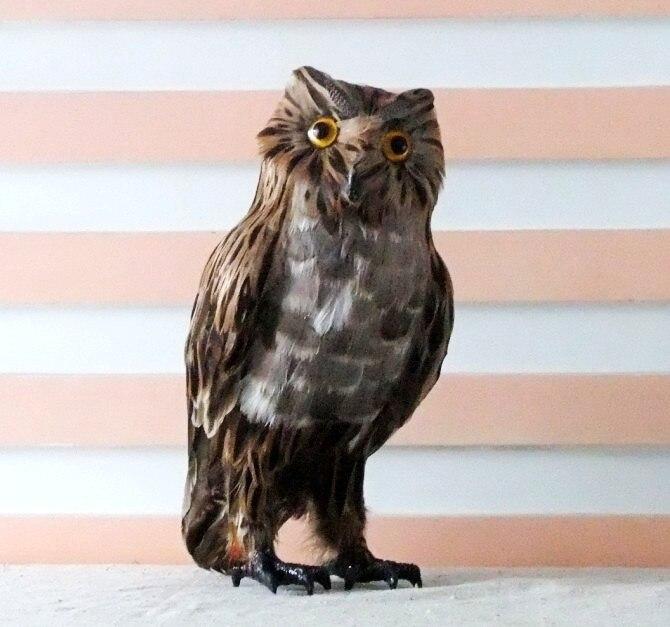 Simulation animal hibou jouet 28x14 cm plumes nighthawk modèle jouet, polyéthylène & fourrures résine artisanat, accessoires, décoration A681