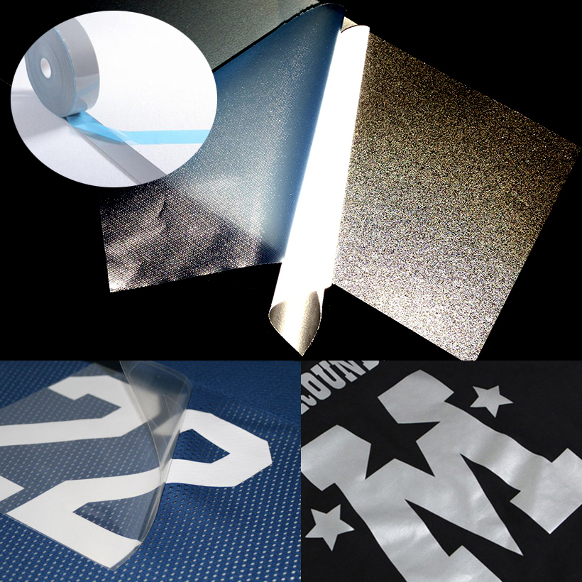 5cm Width Safety Reflective Heat Transfer Vinyl Film DIY Silver Iron On Reflective Tape For Clothing