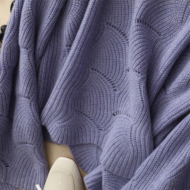À Tricoté Femme Pu Pour Flare 2018 Manches Chandail pourpre Lâche rose Femmes Tricoter Pulls Évider Shuchan L'automne Ciel Nouvelles blanc w0nP7Bqx