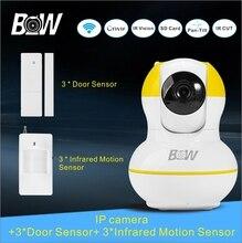 Hogar Sistema de Alarma de La Cámara de Seguridad CCTV IP Cámara + 3 Puerta + 3 sensor de infrarrojos motion sensor p2p cctv monitor de bebé cámara bw12y
