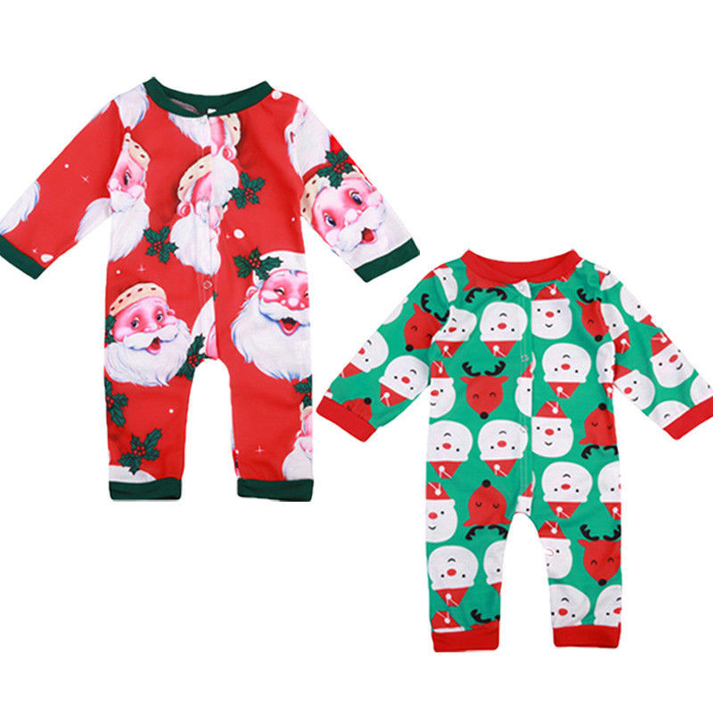 Christmas Newborn Baby Boys Girls Clothing Santa Snowman Cartoon Long Sleeve Romper Autumn Spring Outfits Clothes 0-24M