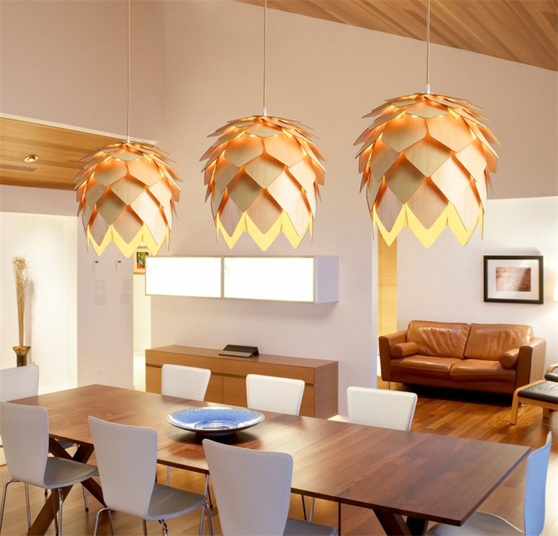 L10-DIY Wooden Led Pinecone Pendant Lights Modern Handmade IQ Puzzles Home Restaurant Hanging Pine Cone Wood Dining Hall Light denmark antique pinecone ph artichoke oak wooden pineal modern creative handmade wood led hanging chandelier lamp lighting light