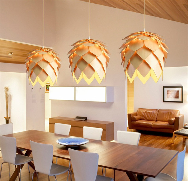L10 DIY Wooden Led Pinecone Pendant Lights Modern Handmade IQ Puzzles Home Restaurant Hanging Pine