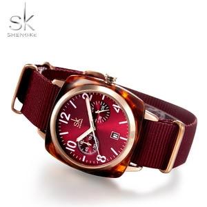 Image 2 - Shengke אופנה שעון נשים ניילון חגורת קוורץ שעון שעוני יד גבירותיי Relogio Feminino Zegarek Damski חדש 2019