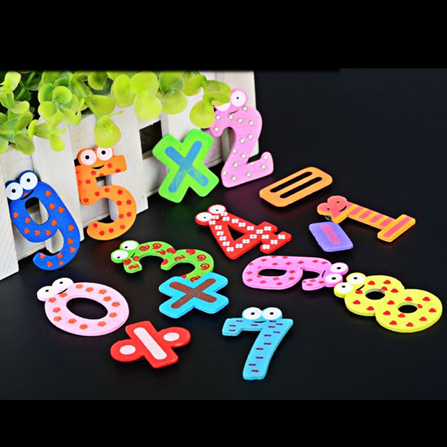 15 Pcs Fridge Magnet Baby Toy Number Wooden Fridge Magnet Toy Refrigerator Message Board Educational Kids Math Toys