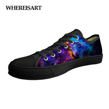 WHEREISART Student Boys Children Spring Lace Up Low-top Vulcanize Shoes Men's Canvas Sneakers Galaxy Star 3D Print Woman Flats instntarts universe star women casual flats shoes cool animal purple wolf print woman s high top vulcanize canvas shoes sneakers