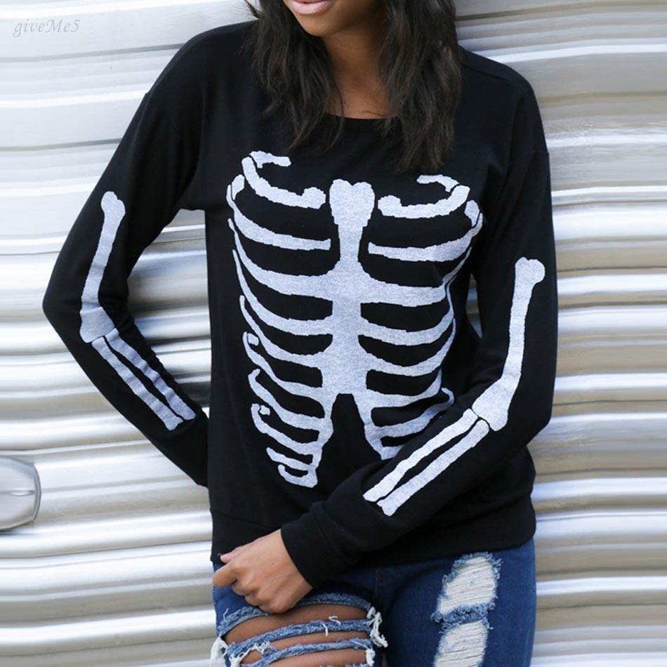Fashion Women Skull Print Hooded Tops Casual O-Neck Long Sleeve Slim Pullover Hoodie Sweatshirt