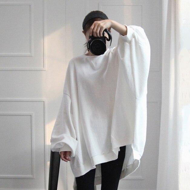 SuperAen Bat-wing manches coton mode femmes à capuche décontracté décontracté sauvage Sweatshirts femme couleur unie lâche sweat 2018 nouveau