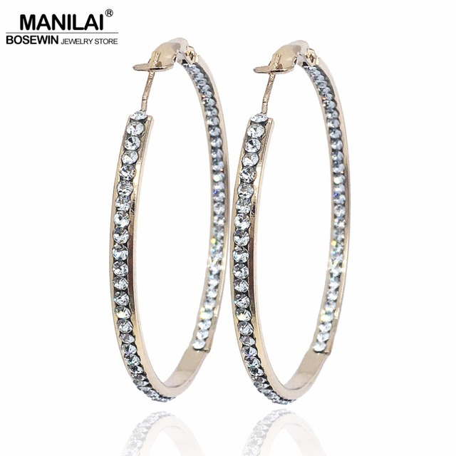 MANILAI Luxury Wedding Rhinestones Big Hoop Earrings For Women 2018 Fashion  50mm Diameter Statement Earrings Women s 9d9eac00596a