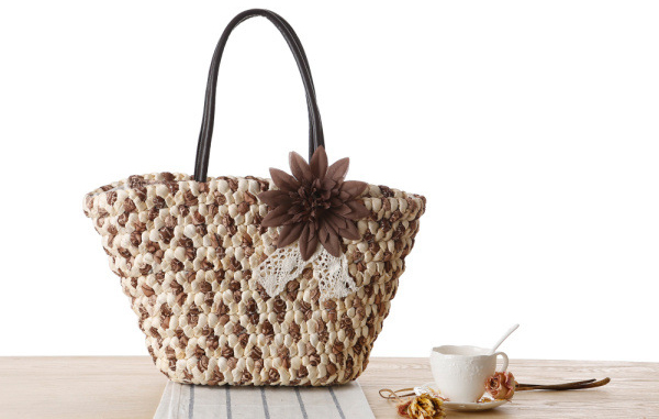 Woven Beach Bags Women Large Straw Handbags Summer Fashion Zipper 17 Bolsa Feminina Flower Ladies Hand Bags Female New Arrival 6