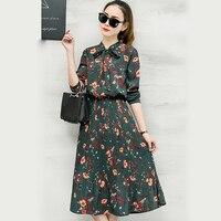 2018 New Spring Women Floral Print Pleated Chiffon Dresses boho Style Bowknot collar Retro black flower Dress