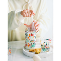 imported from Italy Lead free glass juicy milk cold water creative glass cute water bottles 1000ml 1100ml kids cartoon bottles