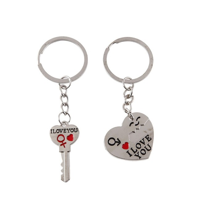 1 Pair Couple I LOVE YOU Letter Keychain Heart Key Ring Silvery Lovers Love Key Chain Souvenirs Valentine's Day Jewelry Gifts 2