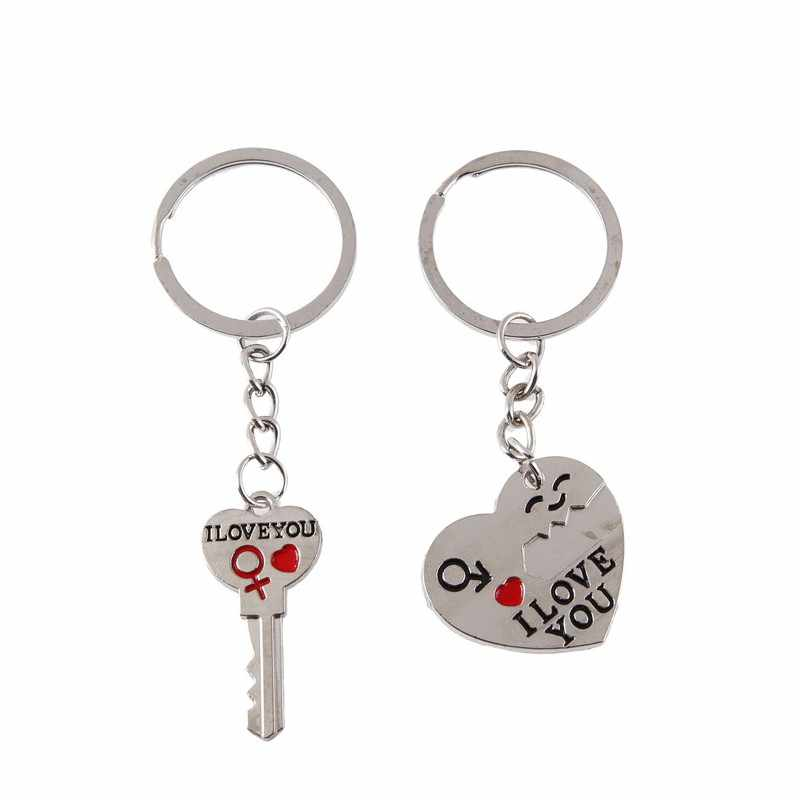 1 ペアカップル私はあなたの手紙キーホルダーハートキーリング銀色愛好家愛キーチェーンお土産バレンタインの日宝石類のギフト