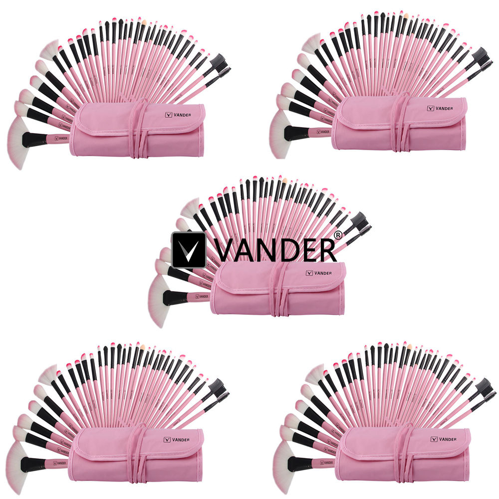 5 Sets Vander Pink 32pcs Professional Makeup Brushes Set Cosmetics Eyebrow Shadow Powder Tools Kit With Bag For Woman's Beauty kalencom buckle bag monique powder pink