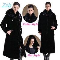 Estilo de Europa de invierno de Imitación de visón abrigo de imitación tamaño ultra de largo más trinchera escudo abrigos de piel de Cuero Abrigo de pieles