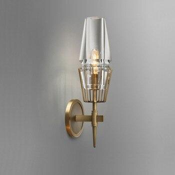 American Retro Copper Wall Lamp Living Room Bedroom Aisle Porch Corridor Bedside Lamp Wandlamp Nordic Modern Simple Wall Lights