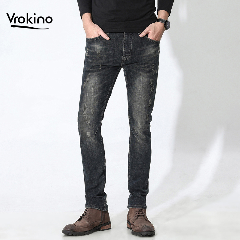 VROKINO Brand 2019 New Jeans Men Do The Old Retro Stretch Jeans Casual Slim Fashion High Quality Pants 3 Kinds Of Styles 28-38