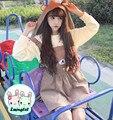 Так Мило Лолита девушки Kawaii Rilakkuma Чулок Платье Медведь Вышивка Женщины Зимние Габаритные Платье со Съемными Hat