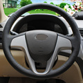 Black Leather Hand-stitched Car Steering Wheel Cover for Hyundai Solaris Verna i20 2008-2012 Accent