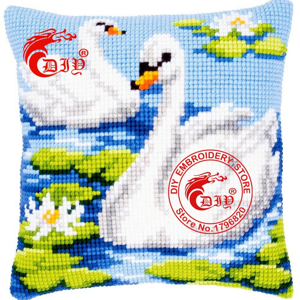 Plain white pillowcases for crafts - Cheap Pillowcases For Crafts Diy Needlework Crafts Two Swans Cushion Front Cross Stitch Fine Printed