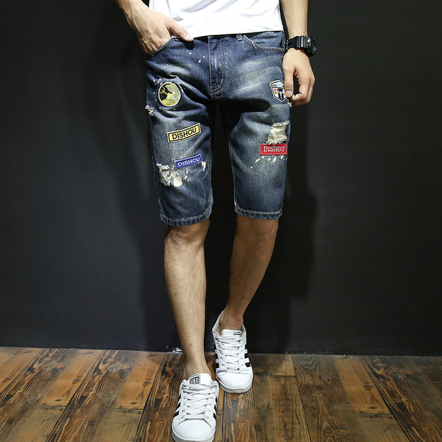 02aeb4d7d3 High Quality Men's Big Holes Denim Shorts New Male Cotton Flexible Blue Short  Jeans Men Knee Length Casual Short Jeans