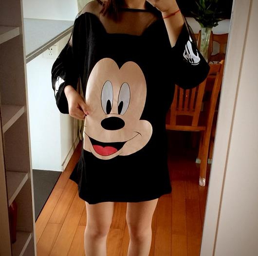 a98f7086 2015 New Cute Cartoon Mickey T Shirt Dress Women's Long sleeve Emoji  Patchwork Mesh Tshirt Women Clothes O Neck Camisetas Mujer-in T-Shirts from  Women's ...
