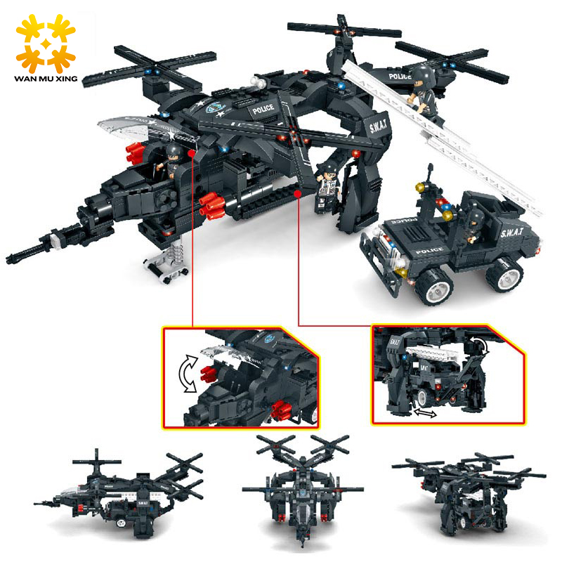 SWAT Corps Police Model Building Blocks Toys Compatible with major brands Buzzard Helicopter Educational DIY Bricks Gift C0536 sluban b2100 city police riot swat helicopter 3d construction plastic model building blocks bricks compatible with lego