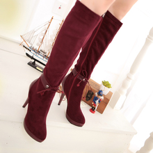 New 2014 Winter Fashion Knee High Boots For Women Platform Thin High Heel Women side zip long Boots Women Shoes Plus Size 34-43