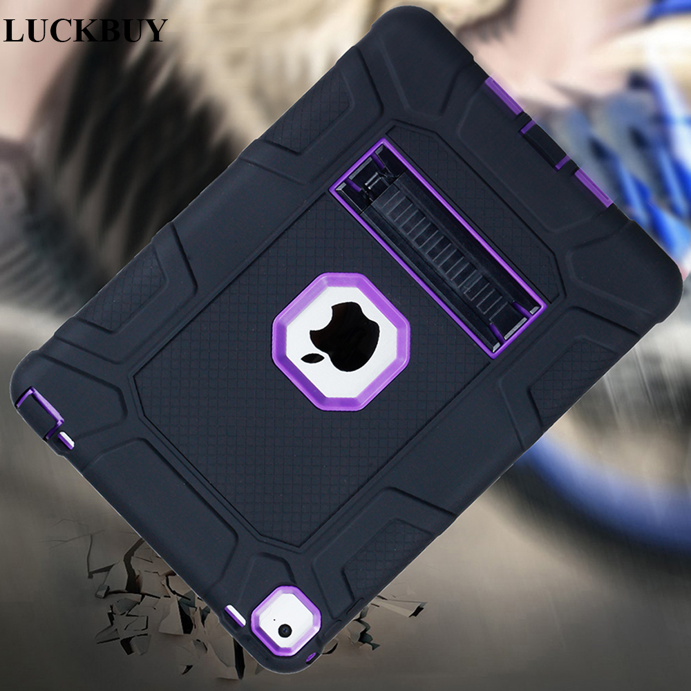 LUCKBUY Kickstand Case Cover For Apple iPad mini4 Kid Safe Armor Shockproof Heavy Duty Defender Silicon+PC Case for iPad mini 4