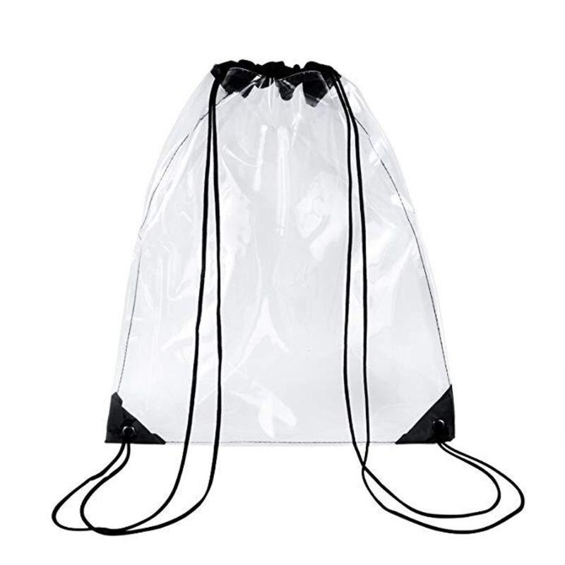 1 Pc New Transparent Drawstring Backpack Cinch Sack School Tote Gym Bag Sport Pack PVC Bag Noenname_Null