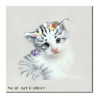 Lovely Animal Cat Oil Painting Hand Painted Canvas Animal Painting Cat Home Decor Picture Unframed Wall Art Artwork Canvas Photo
