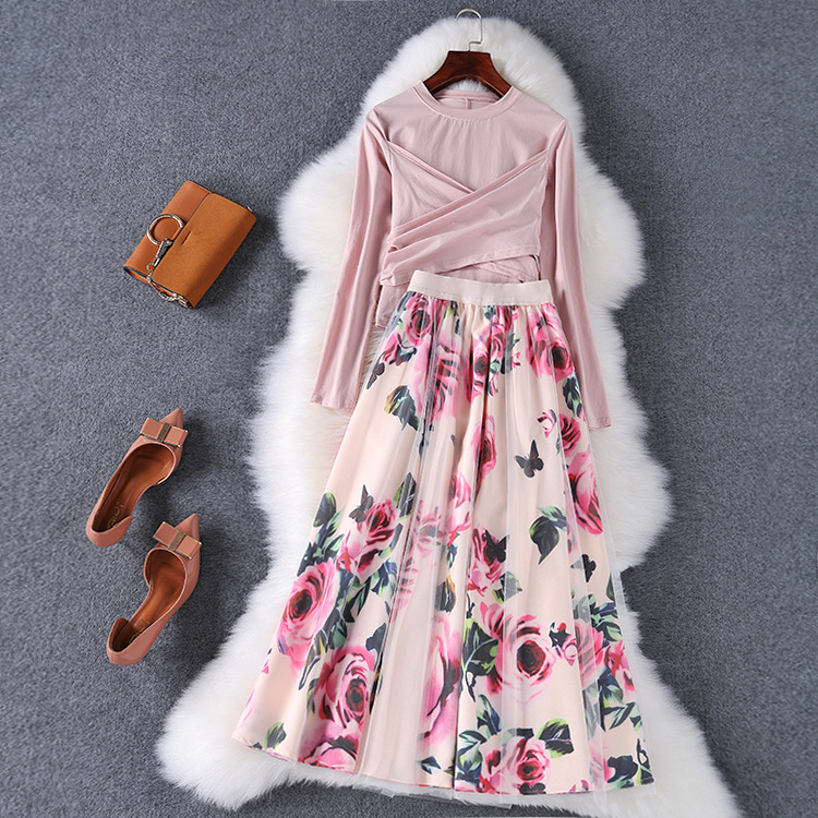 Women Long Sleeve Bow Bandage Slim Pink T Shirt Tops+Vintage Print Flowers Long Mesh Skirts Fashion Elegant Autumn Set