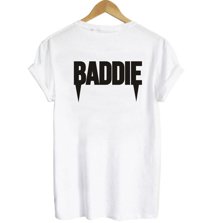 Baddie back letters print women women t shirt casual for Drop ship t shirt printing