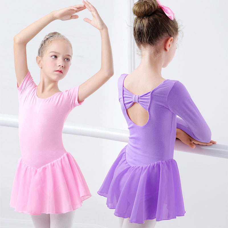 Girls Ballet Dress Gymnastics Leotard Short Sleeve Ballet Dancewear For Girls Chiffon Skirts Kids Dance Leotard
