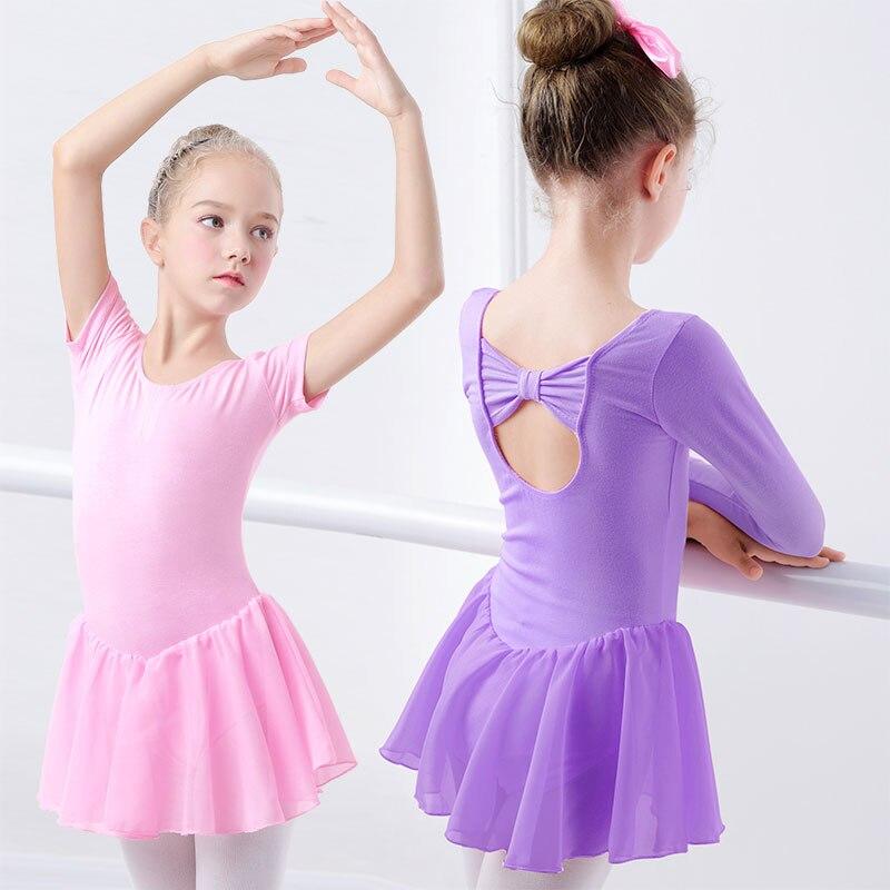 Girls Ballet Dress Gymnastics Leotard Short Sleeve Skirted Ballet Clothing Dance Wear With Chiffon Skirts