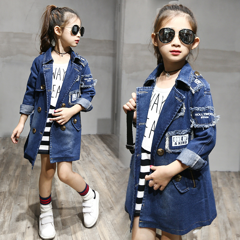 2017 Girls denim Jackets Fashion Double-Breasted Denim Coats New Kids Trench Coat For Girl Long Jackets Autumn Children Clothing цены онлайн