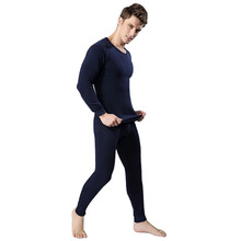 Men's Winter Warm Thermal Underwear Pajama 2 computer Set Thicken Pullover Top and Pants