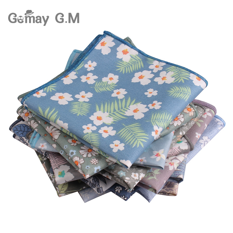 Brand Floral Print Mens Handkerchief Cotton Suits Pocket Square For Men Business Chest Towel Hanky Gentlemen Hankies