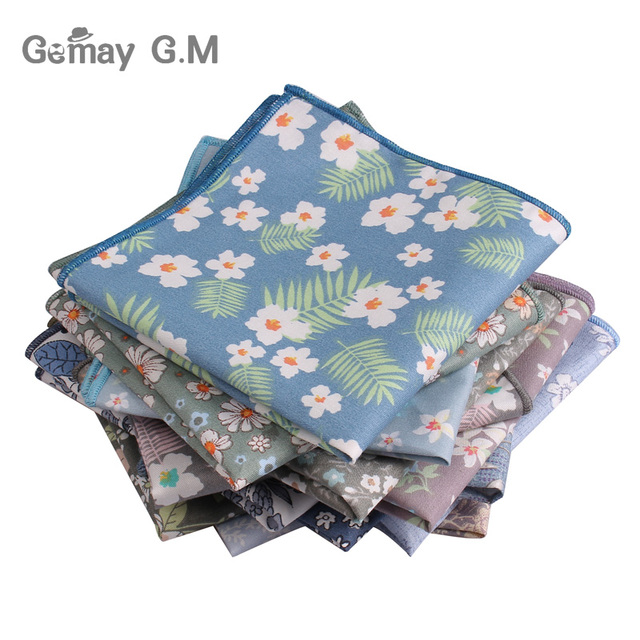 f12105255102 Brand Floral Print Mens Handkerchief Cotton Suits Pocket Square For Men  Business Chest Towel Hanky Gentlemen